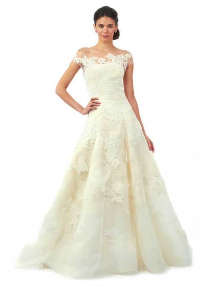 Vestido de novia con escote de tul invisible y corte en A de Oscar de la Renta - Colección Otoño 2014