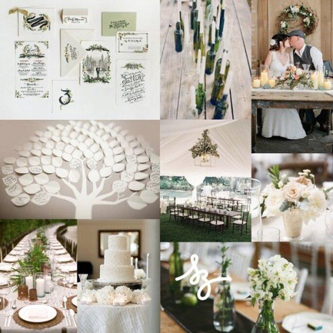 Collage de inspiración para una boda elegante inspirada en la naturaleza - Foto boutiquetheo.com, charlestonevent.com, stylemepretty.com, riflepaperco.com. Diseño de Raisa Torres para SZ Eventos