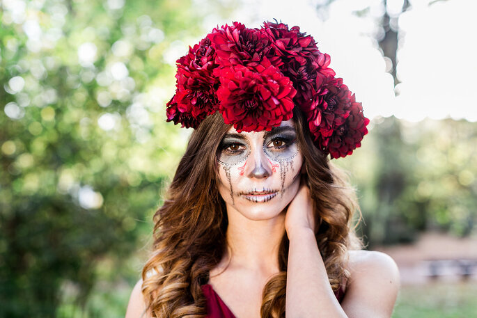 Dia de los Muertos Fotoshooting Inspiration Braut farbenfroh pink