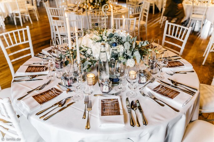 Tischdekoration der Hochzeitlocation