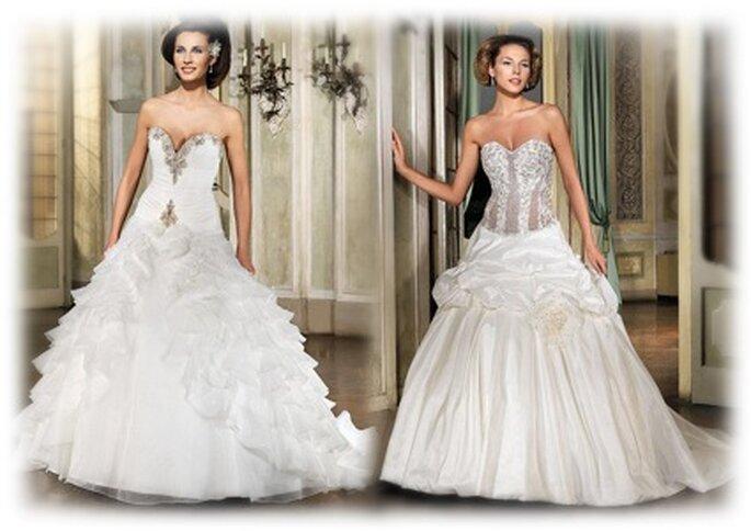 links: Eddy K Milano 2010 MD 31 TT, symmetrisches Prinzessinnenkleid, undurchsichtig und absolut königlich, rechts: MD 37 TT, Brautkleid in A-Linie mit großer Blume und strassbesetztem Korsett