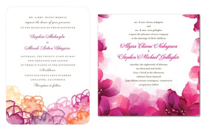 Invitaciones de boda en color rosa intenso con toque de púrpura - Foto Wedding Paper Divas