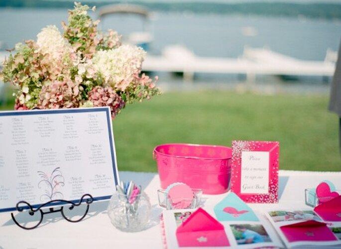 Decoración de boda con flores - Foto Jen Lynne