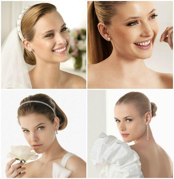 Una base perfetta e luminosa è la prima regola per un make up glamour e chic. Foto sopra www.pronovias.com, sotto www.rosaclara.es