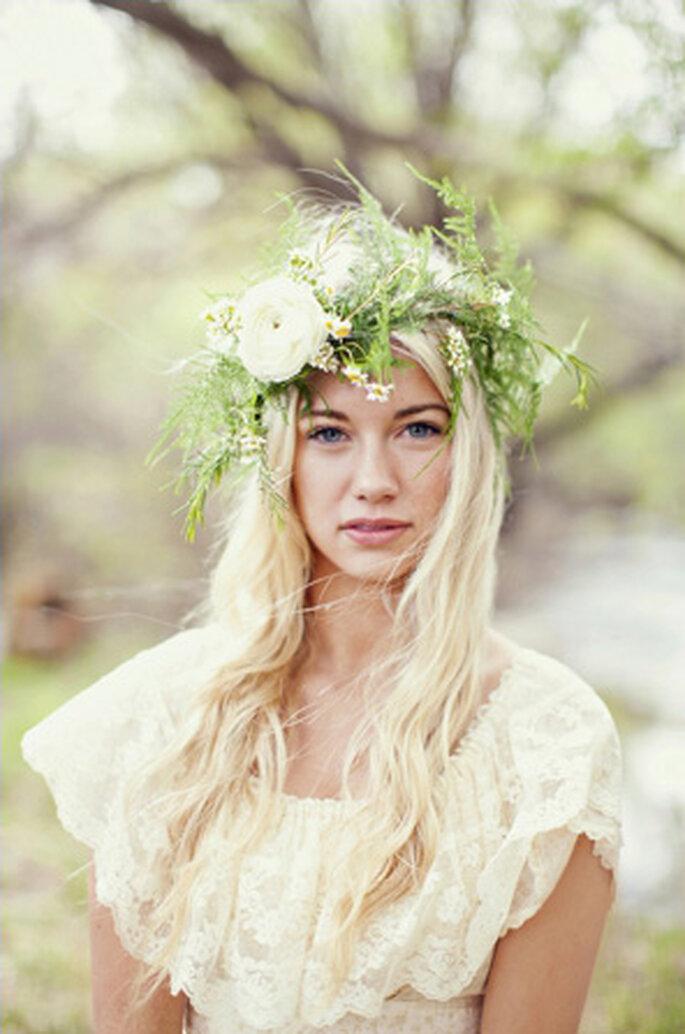 Estilo bohemio y descontracturado para novia campestre. Foto: Lianne Nichols