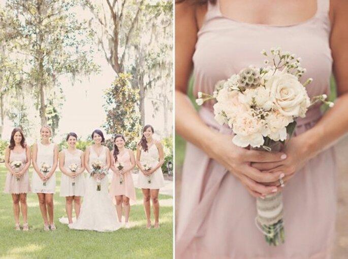 Ramos para tus damas de boda en color nude - Foto J.Layne Photography
