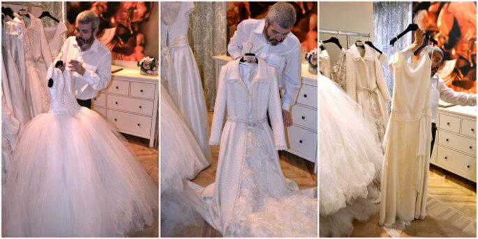 Lorenzo Caprile nos enseña sus vestidos para novia. Foto: Ana Jiménez.