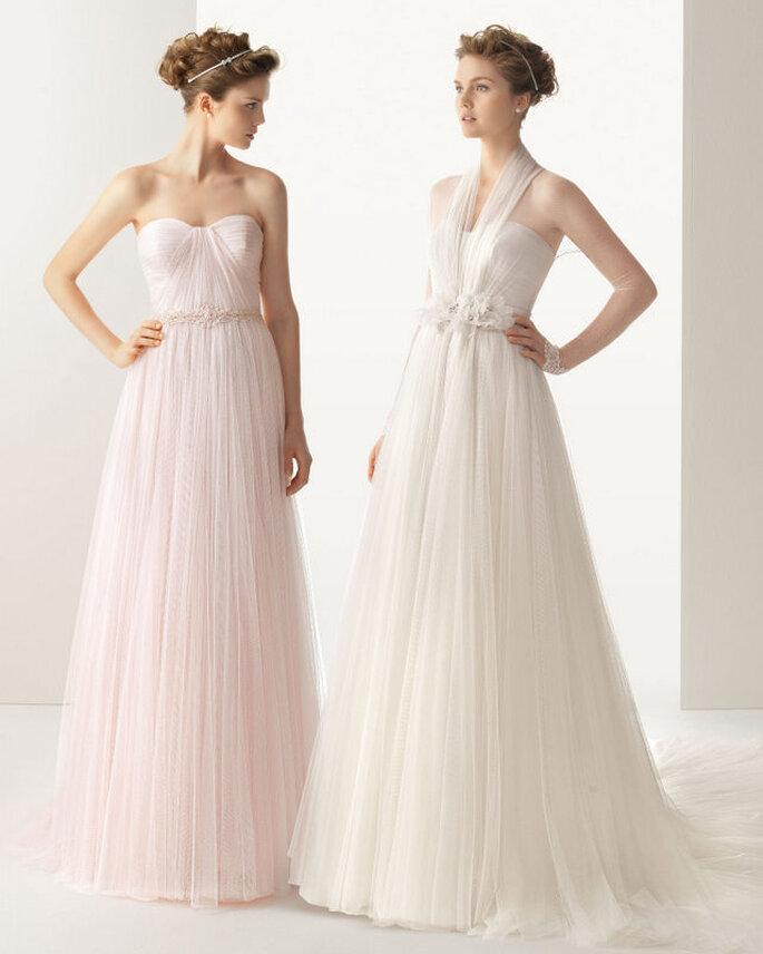 El vestido de novia Ural de la colección Soft de Rosa Clará combina el anudado al cuello con encaje y el escote corazón. Foto: www.rosaclara.es