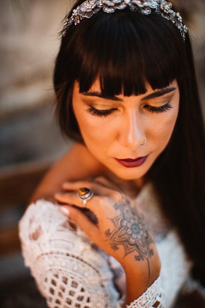 penteado de casamento cabelo comprido franja e tiara