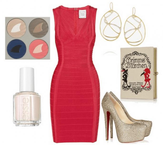 Cómo combinar un vestido de fiesta rojo - Fotos de Net a Porter y Nordstrom. Collage hecho con Clothia