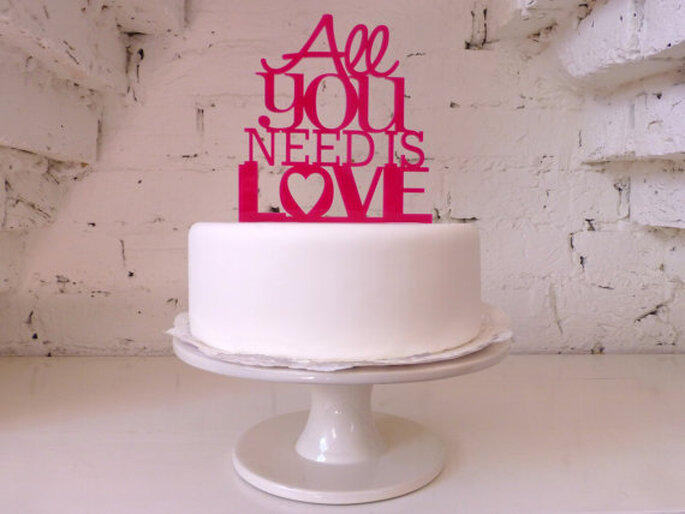 Cake Topper All You Need is Love - Foto Etsy