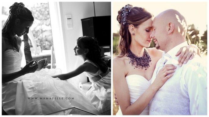 Peinado de novia alto y con mechones sueltos