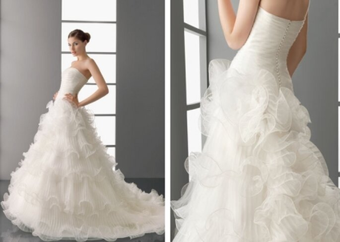 Vestido de novia 2012. Organza en color natural. Avance Aire Barcelona