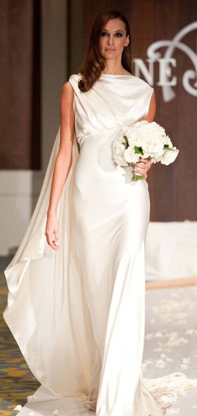 Sulis, Goddess of Healing: Silk crepe-back satin gown with train, $1,450.