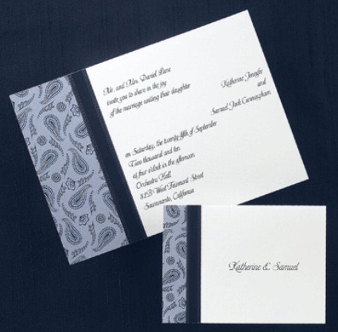 Convite de casamento azul - nos casamos