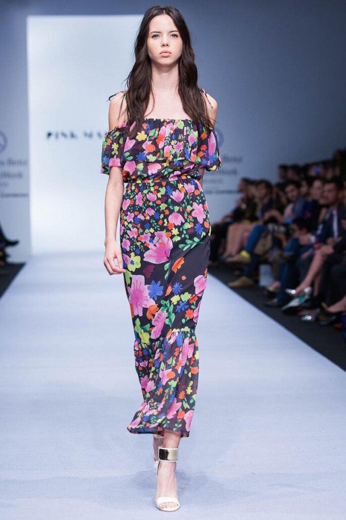 Vestidos de fiesta inspirados en la cultura mexicana - Pink Magnolia en Mercedes Benz Fashion Week México Oficial