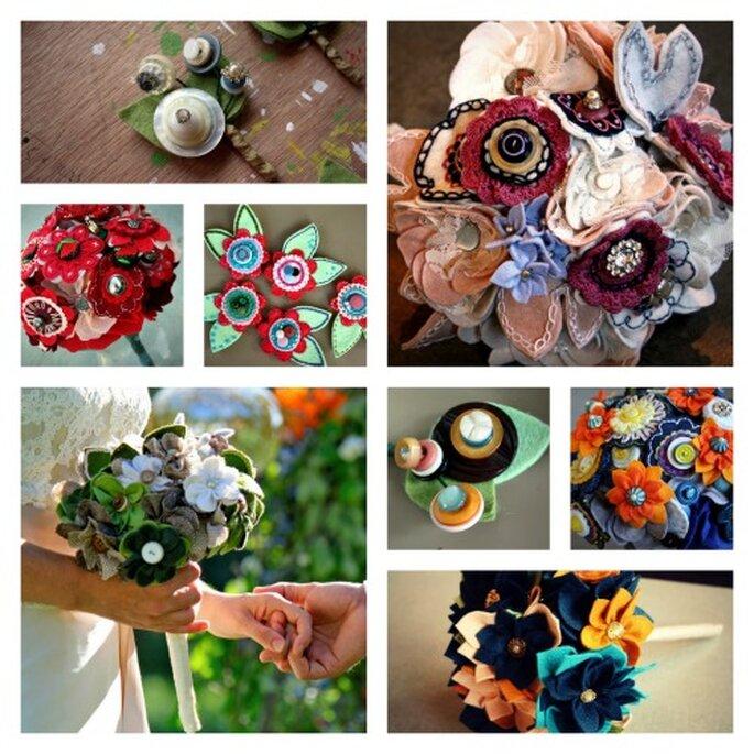 Bouquets y accesorios con mucha fuerza y originalidad. Fotos: Princess Lasertron