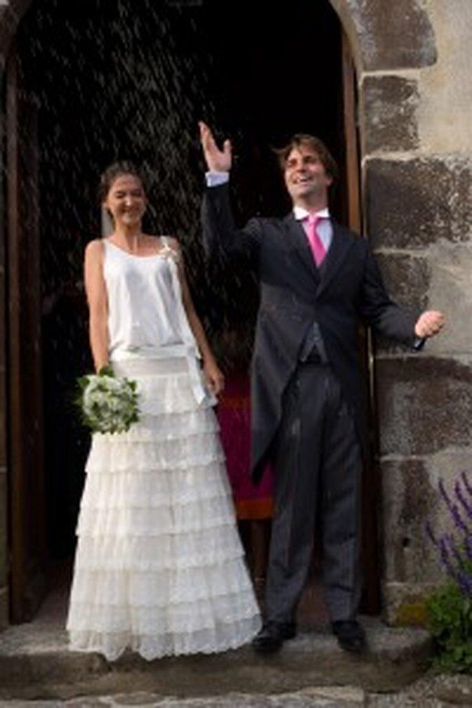 Eloi-Pierre y Alphée a la salida de la ceremonia