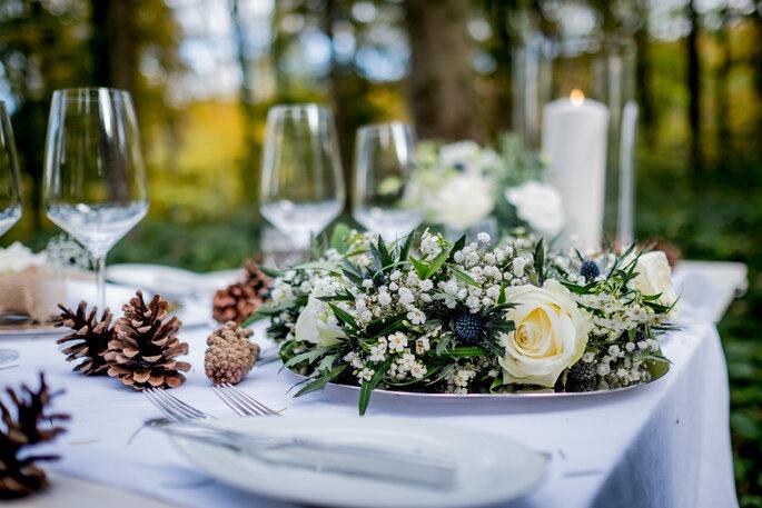 Tischdekoration Winterhochzeit