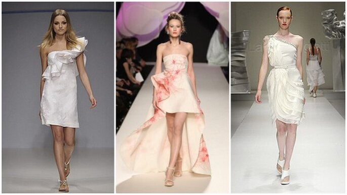 Da sinistra: 3 modelli asimmetrici di Enrico Coveri , Gattinoni, Laura Biagiotti