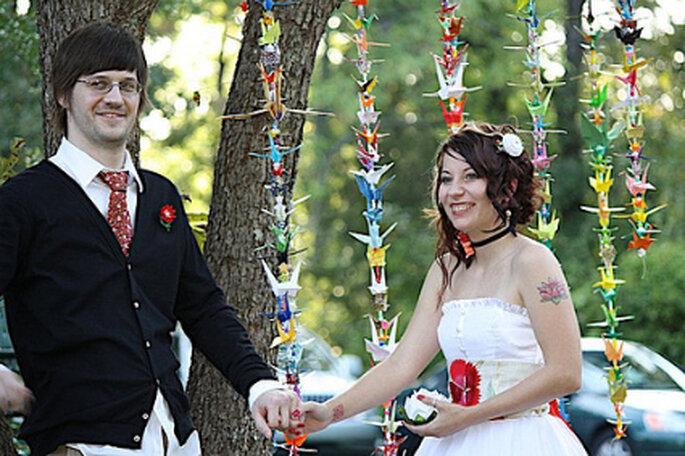 Heiraten im japanischen Stil mit Origami Dekoration