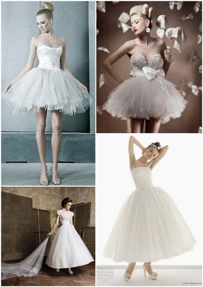 Vestidos de noiva inspiração ballet (a começar canto superior esquerdo) - Leber Barbara, Elihav Sasson, Aire e Pronuptia
