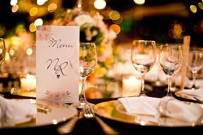 menu de casamento delicado