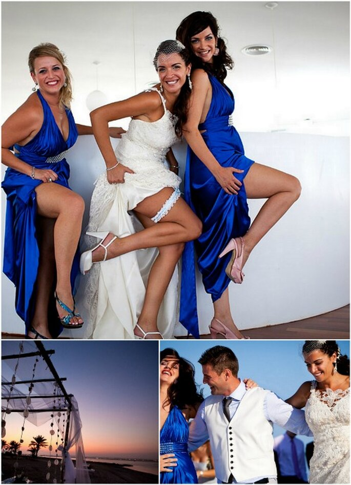 Las damas de honor de la novia se vistieron de azul zafiro, a juego con el mar. Foto: Joaquín Tocornal
