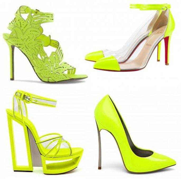Zapatos amarillo fluorescente de Casadei, Christian Louboutin y Sergio Rossi