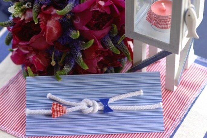 marynarskie zaproszenia ślubne DIY
