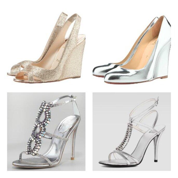 L'argento sulle scarpe si presta sia in versione glitter,che effetto specchio oppure con dettagli gioiello. Sopra Christian Louboutin,sotto a sinistra Renè Caovilla e a destra Stuart Wietzman.