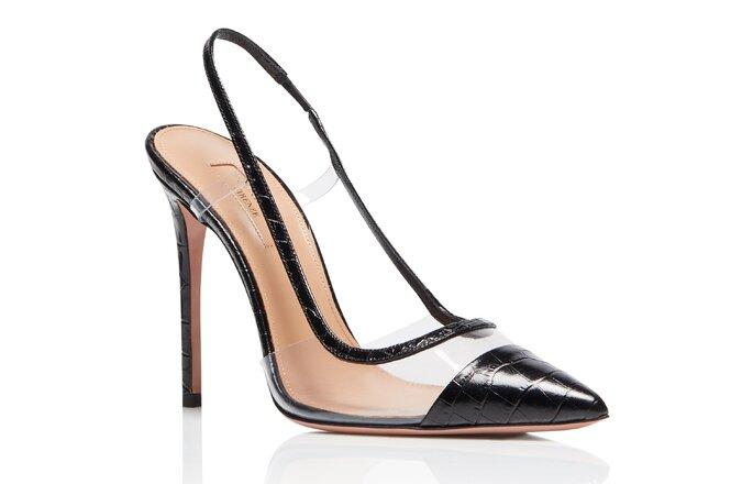 Zapatos stilleto en pvc y punta en negro