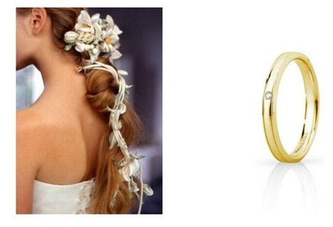 A sinistra splendido esempio di acconciatura con fiori; a destra fede Unoaerre Mod.Orion slim, in oro giallo e diamante centrale
