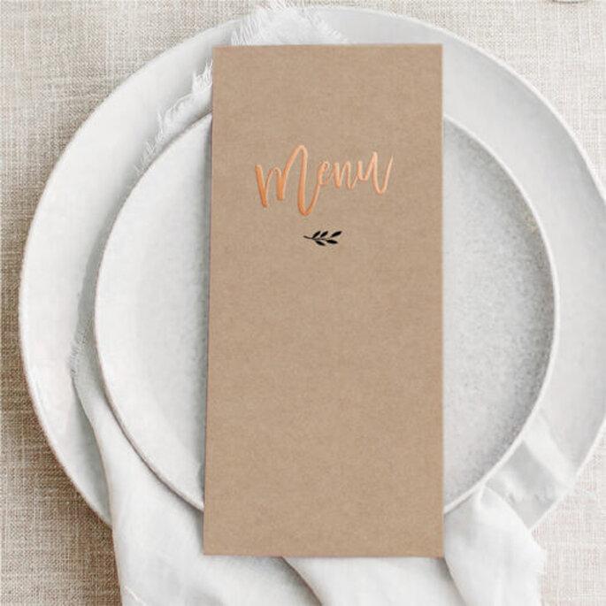 Présentation champêtre menu de mariage