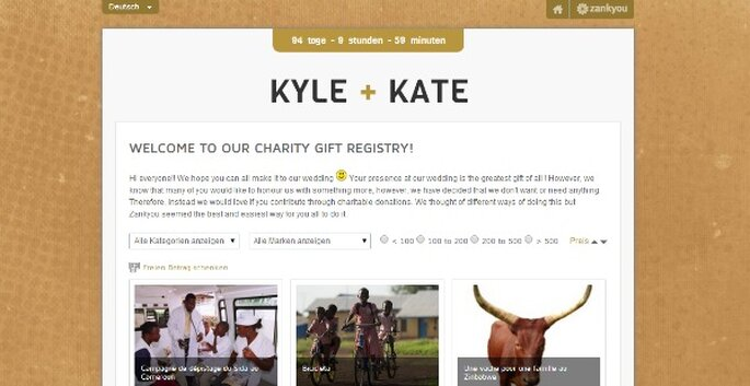 Hochzeitsliste mit Spenden