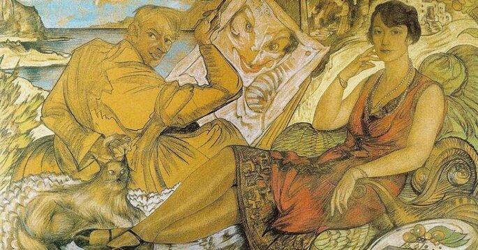 """Credit: Radio Kraków, St. I. Witkiewicz, """"Fałsz kobiety (Maryla Grossmanowa i autoportret)"""", pastel na papierze, 115,5 x 184 cm, Muzeum Narodowe, Warszawa"""