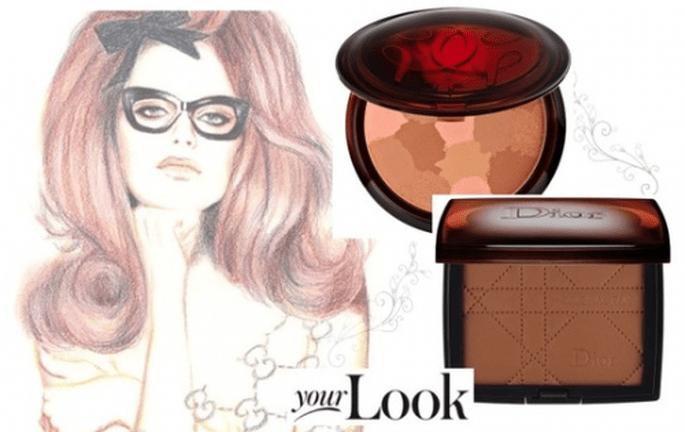 Los bronzers ideales para el maquillaje de la esposa - Foto Sephora (Guerlain y Dior) e ilustración de Gucci