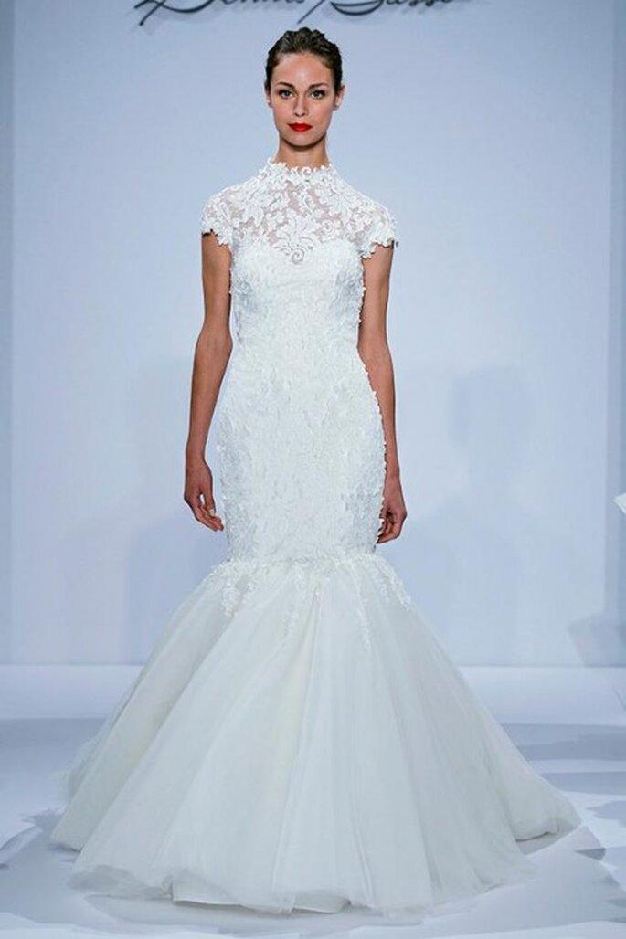 Vestido de novia 2014 corte sirena con cuello cisne y mangas cortas - Foto Dennis Basso