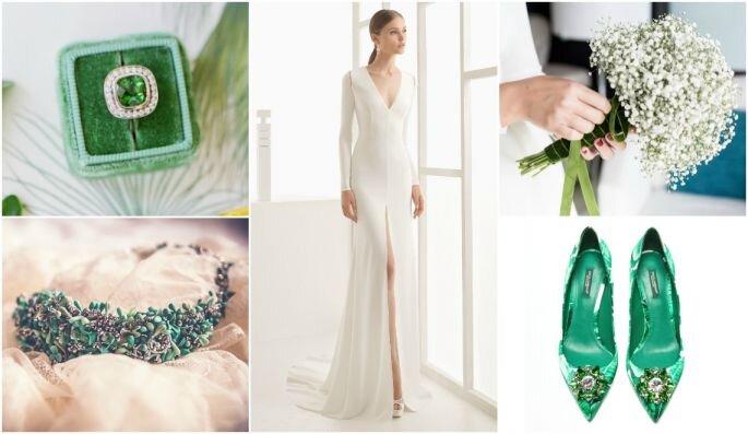 Образ невесты с оттенками зеленого