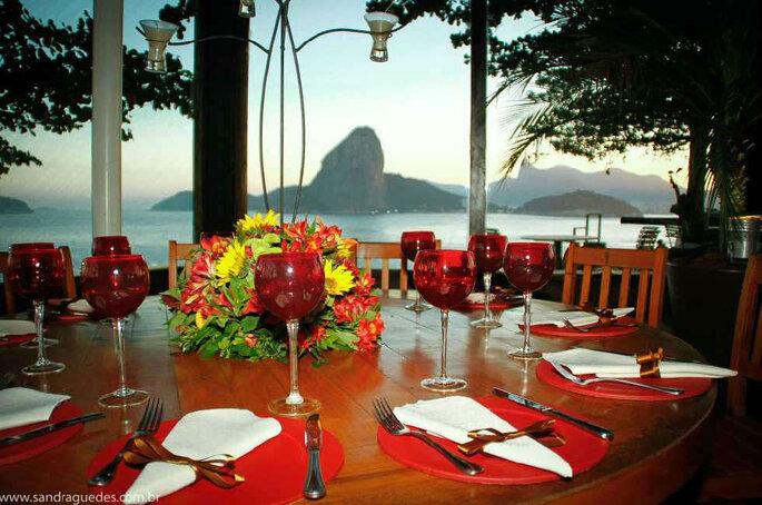 jantar com vista panorâmica no casamento