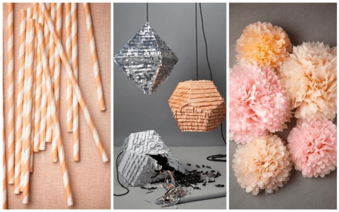 Decoración de boda en colores coral, rosa y gris. Fotografías BHLDN y Confetti System
