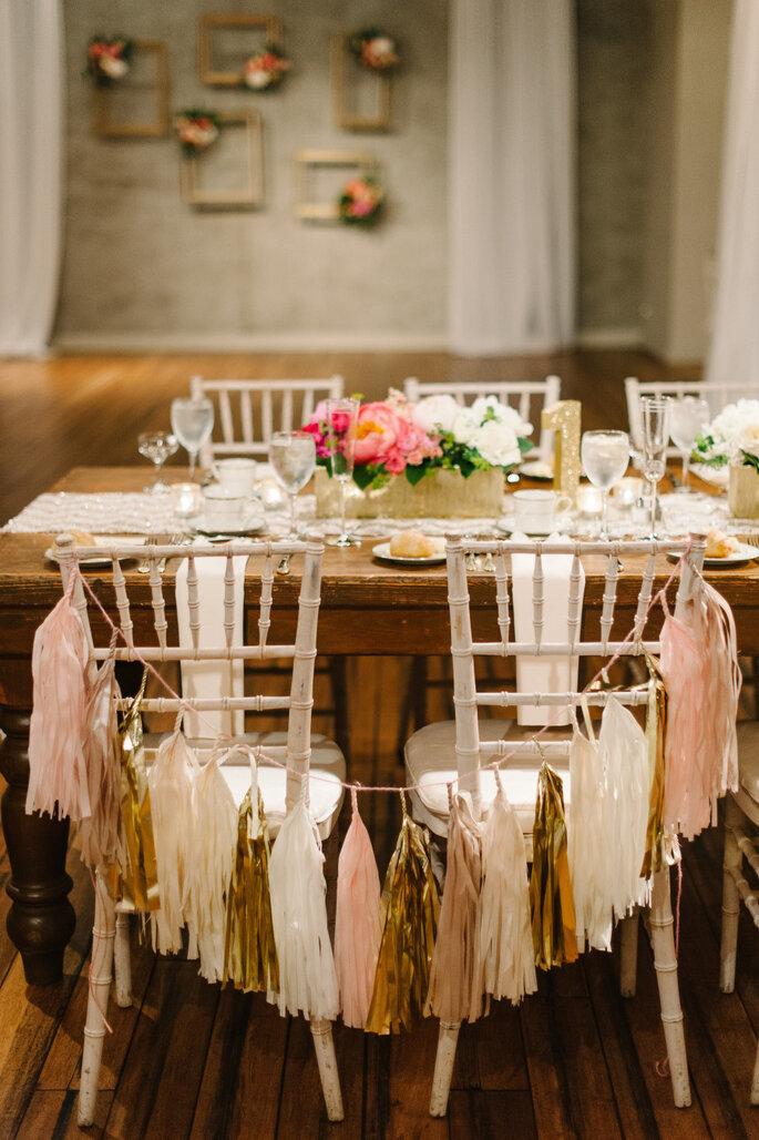 Casamento decorado com fitas