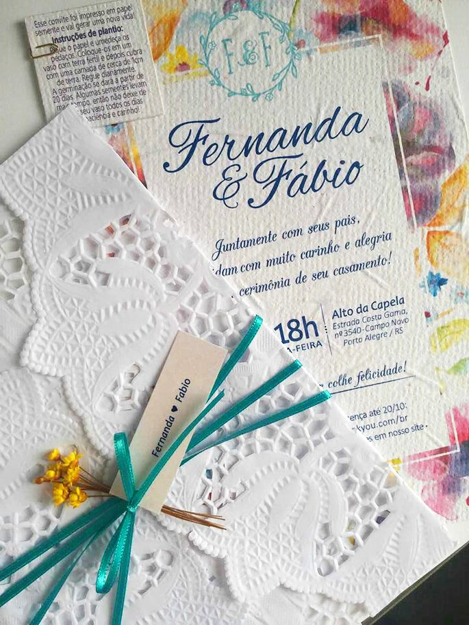 Convite feito pela noiva