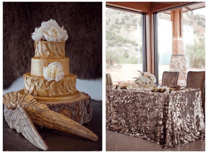 Glitter y pedrería en la decoración de tu boda - Foto Cristy Cross