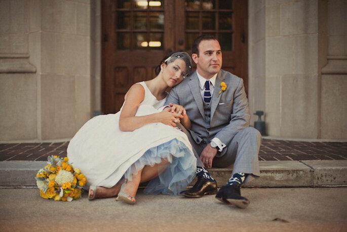 Enaguas de tul de color para novia: un toque retro y moderno para tu look nupcial. Foto: www.stephaniejamescouture.com