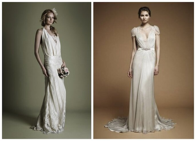 Sinistra: abito stile anni '20 da The Decades Collection, The Vintage Wedding Dress Company; destra: Aspen by Jenny Packham 2012