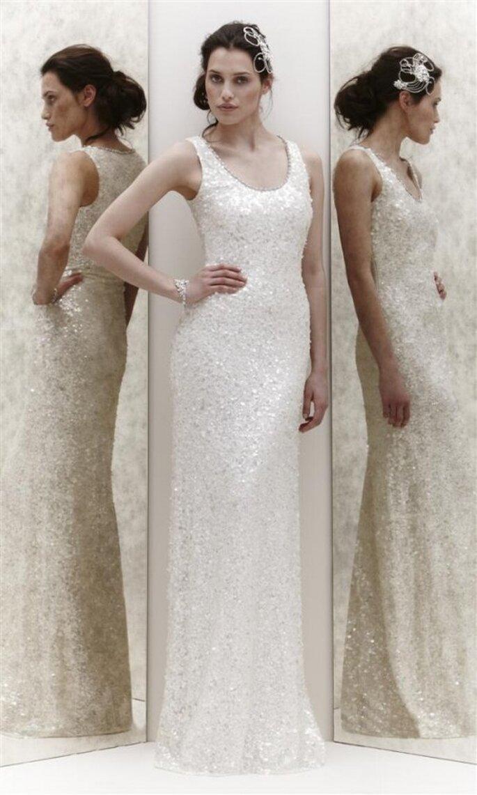 Vestido de novia recto con brillantes - Foto Jenny Packham 2013
