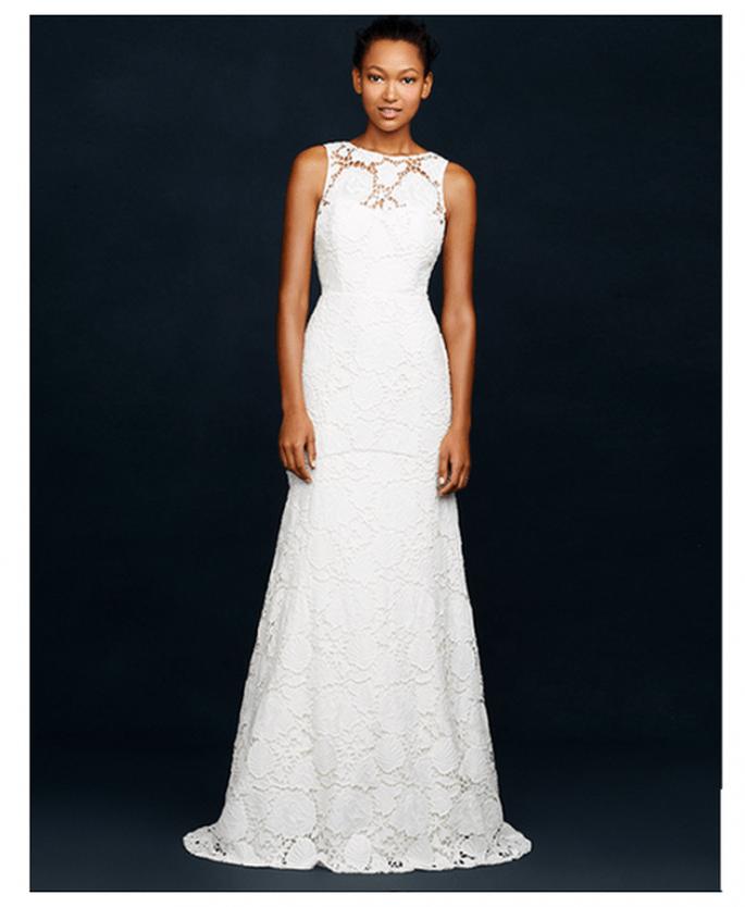 Vestido de novia con cuello ojal sin mangas y silueta ceñida con detalles de encaje - Foto JCrew