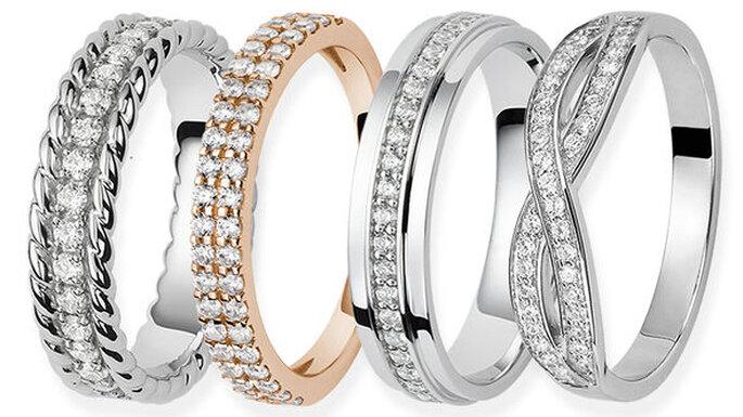 Alliances originales ornées de diamants
