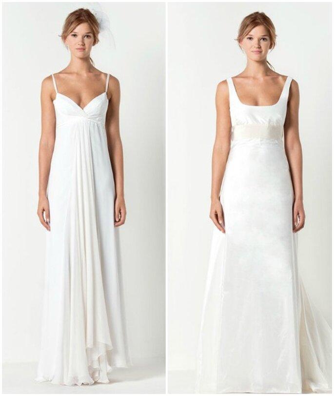 A sinistra abito lungo in chiffon crêponne di seta color bianco gelsomino e a destra abito lungo in taffetà di seta color bianco latte e nastro di gros-grain. Max Mara Bridal Collection.